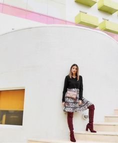 Oh hello there, Style Meligan! You rock in those suede burgundy over the knee boots! Cool Boots, New Shoes, Over The Knee Boots, Sequin Skirt, Burgundy, Sequins, Street Style, Rock, Skirts