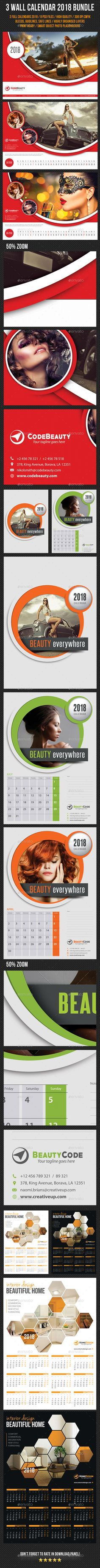4 clean, crisp, high impact, multiuse PSD Calendar Templates for 2018, perfect for advertisement, presentation or product promotio