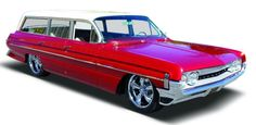 Matt wants to paint our 1961 oldsmobile dynamic 88 station wagon red like this....I'm all for it...and the cragar wheels. Swoon!