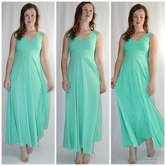 Vintage 1970s Mint Green Knit Maxi Dress Formal Sz S/M by ChrisMartinDesigns on Etsy