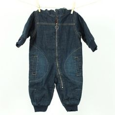 The Pippa & Ike Show * Denim padded winter overall with hood for babies by Villervalla