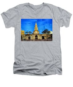 Men's V-Neck T-Shirt - The Gate And Clock Tower In Cartagena Colombia