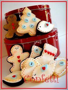 Christmas Cookies lauritavg/cookies-macarons-cup-cakes/ back Galletas Cookies, Iced Cookies, Cute Cookies, Easter Cookies, Holiday Cookies, Holiday Treats, Christmas Treats, Christmas Goodies, Christmas Desserts