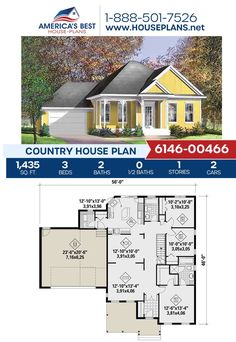 Fall in love with this cozy Country design! Plan 6146-00466 is highlighted by 1,435 sq. ft., 3 bedrooms, 2 bathrooms, a covered porch, a kitchen island and the front entry garage feature. Learn more about this Country design today! Country House Plans, Best House Plans, Floor Plan Drawing, Cost To Build, Building Section, Dormer Windows, Construction Cost, Build Your Dream Home, Front Entry