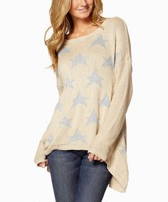 Take a look at this Cream & Silver Hi-Low Sweater on zulily today!