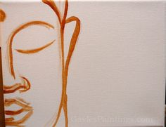 Step Simple outline with paint to create the shape of Buddha's face.