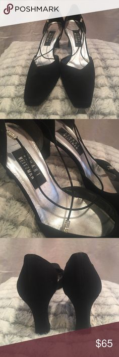 STUART WEITZMAN black heels Stuart Weitzman black heels with two criss crossed straps with rhinestone accents. Other then scuffs on the bottom, in great condition! Really comfortable! Shoes Heels