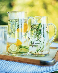 Inviting Waters: For citrus-rosemary water, use lime slices, large strips of orange zest, and gently crushed rosemary sprigs. For ginger-cucumber water, try sliced ginger, cucumber ribbons, and mint sprigs. Steep ingredients in water, refrigerated, for an hour.