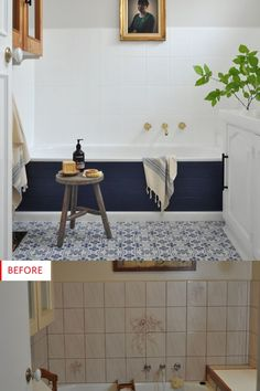 Update your bathroom on a budget! Enhance your bathroom decor with Rust-Oleum Specialty Tub & Tile to totally transform your bathroom sink and tile an. Home Renovation, Home Remodeling Diy, Bathroom Renovations, Budget Bathroom Makeovers, Diy Bathroom Vanity, Master Bathroom, Bathroom Tubs, Bathroom Ideas, Bathroom Small