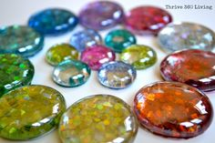 Thrive 360 Living: DIY Glitter Gems & Magnets- I used glass stones from the dollar store instead.