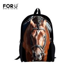 Age 7-13 Children Backpack 16 inch Mochila Infantil Cool Horse Panda Cute  Backpacks for 504b6308e06d3