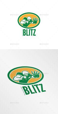 Blitz Bay Area Football Logo. Logo showing illustration of an american football gridiron player holding ball fending off stiff arm