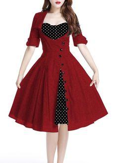 Lace Up Polka Dot Faux Two Piece Dress