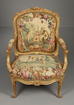 Louis XV giltwood fauteuil with original Beauvais tapestry,French, c. 1765 | ROCOCO