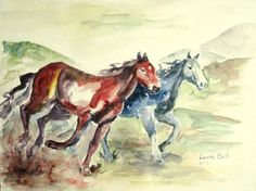 ORIGINAL Horses watercolor painting red horse painting 9x12