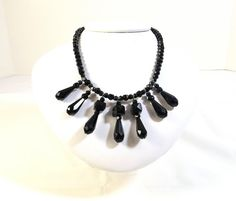OOAK Hand Made UpCycled Black Faceted Glass Choker by KatsCache, $30.00