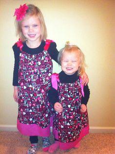 Girls Black & Hot Pink  LOVE pillowcase dress by HandmadeByLoloZ, $20.00