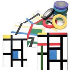 Art Project:  This fun design project is terrific for elementary students.  All it takes is tape and paper!  Inspired by the Dutch painter Piet Mondrian.