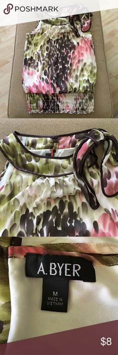 Pretty Watercolored Top A. Byer top. Watercolored pattern of green, brown and pink. Very pretty in person. Chiffon fabric with liner. Band around waist. A. Byer Tops Blouses