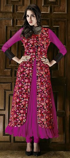 416629: ROYAL WEAR - step into most desirable dress for evening. Order embroidered #salwarkameez!  #Partywear #pink #anarkali #onlineshopping