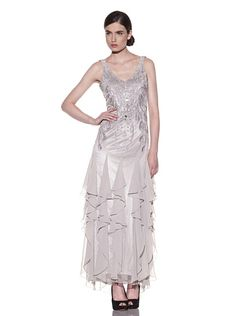 Sue Wong Cascading Ruffle Long Gown
