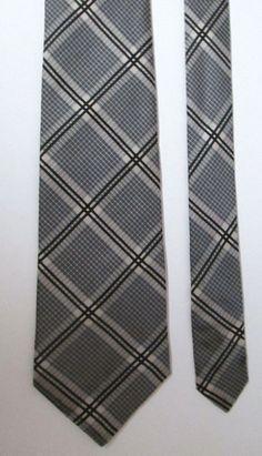 """Van Gils Tie Black & Cream Plaid EUC Classic Length 3.75"""" W 100% Silk Off White #VanGils #Tie"""