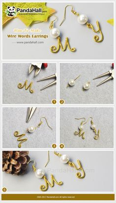 #PandaHall #JewelryMaking #Tutorial on how to make a pair of #WireWrapped words #Earrings #wireringsletter