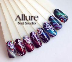 Pretty designd Uñas One Stroke, One Stroke Nails, Cat Eye Nails, Nails First, Nailart, Floral Nail Art, Strong Nails, Diy Nail Designs, Nail Studio