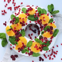 Greek yoghurt Christmas wreath cake with oranges and Christmas spices
