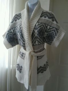Old Navy Women Southwestern Wrap Sweater SP Small Ivory White Gray Short Sleeve in Clothing, Shoes & Accessories, Women's Clothing, Sweaters | eBay