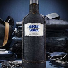 Celebrated Brooklyn-based denim designer Loren Cronk, a star in the avant-garde street fashion scene, has designed a fitted denim bottle skin for Absolut Vodka sure to create a cool conversation piece Absolut Vodka, Get Drunk Not Fat, Alcohol Calories, Carbs In Beer, Denim Look, Peanut Brittle, How To Make Beer, Wine And Spirits, Bottle Design
