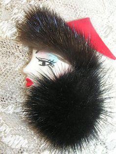 "Vintage Pretty "" Women Face "" with Mink Pin Head Pins, Woman Face, Mink, Pretty Woman, Brooch Pin, Brooches, Random Stuff, Fur, Accessories"