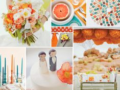 {tangerine tango} orange and aqua wedding