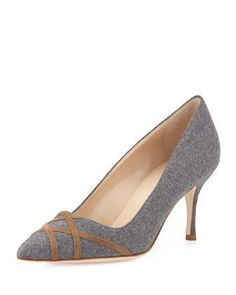 Terla Crisscross Flannel Point-Toe Pump by Manolo Blahnik at Bergdorf Goodman.