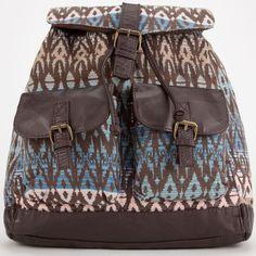 T-Shirt & Jeans Isla Ikat Backpack featuring polyvore, fashion, bags, backpacks, multi, multi pocket backpack, backpack, knapsack, daypacks and canvas knapsack