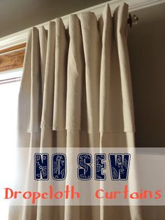 Genius Faux pinch pleat curtains with hidden clip rings! No Sew Dropcloth Curtains with a Faux Pinch Pleat No Sew Curtains, Drop Cloth Curtains, Pleated Curtains, Rod Pocket Curtains, Canvas Curtains, Blinds Curtains, Bedroom Curtains, Shower Curtains, Diy Curtain Rods