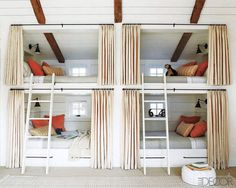 A room with double bunk beds