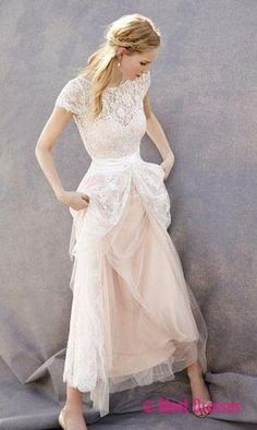 Lovely Wedding Dresses,Blush Pink Wedding Gown,Tulle Wedding Gowns,Lace Bridal Dress,Romantic Wedding Dress,Unique Blush Pink Brides Dress,Cap Sleeves Wedding Dress PD20184965