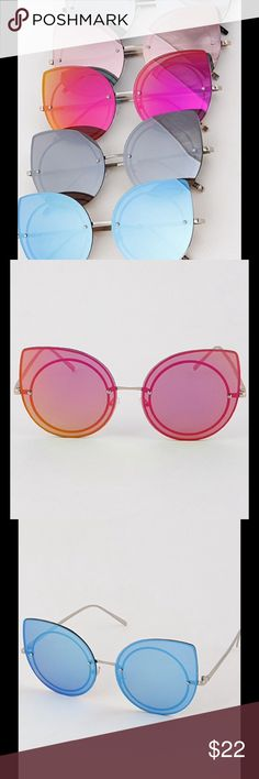 1 HOUR SALECAT EYE SUNGLASSES WITH ROUND INSET Cat Eye with Round Inset Sunglasses   UV Protection  Cute & Trendy Available in: Light Pink, Blue, Bright Pink, Smoky/Black, Smoky/Silver  NO TRADESALL ITEMS ARE VIDEOTAPED &/OR PHOTOGRAPHED DURING PACKAGING Peach Couture Accessories Sunglasses
