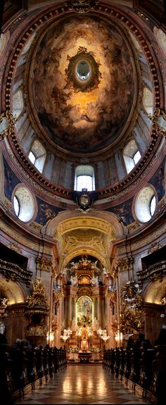 Peter's Church Vienna Austria - Peterskirche Panorama by MOhab Karram, via [Magnificent architecture] Beautiful Architecture, Beautiful Buildings, Art And Architecture, St Peter's Church, Cathedral Church, The Places Youll Go, Places To See, Beautiful World, Beautiful Places