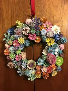 Excited to share this item from my shop: Hand Painted Pine Cone Flower Wreath or Table Centerpiece Pine Cone Art, Pine Cone Crafts, Pine Cones, Diy Fall Wreath, Wreath Crafts, Diy Crafts, Summer Wreath, Ornament Wreath, Pine Cone Flower Wreath