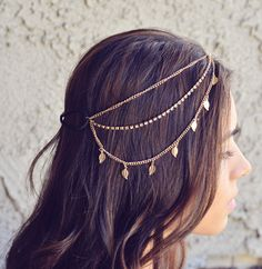 NEW Gold Leaves Rhinestone Indian Boho Bohemian Headband Coachella Festival Hair Chain Accessories Flower Crown Gypsy