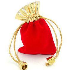 Saquinhos Veludo Vermelho com Dourado