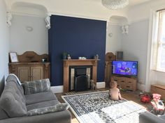 Victorian terrace living room painted in dulux sapphire salute and cornflower wh. Blue Feature Wall Living Room, Navy And White Living Room, Navy Living Rooms, Living Room Decor Colors, Cottage Living Rooms, Blue Rooms, Living Room Paint, Room Colors, Home Living Room
