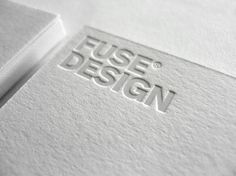 Business card, embossed white on white _ by studio Fuse Design _