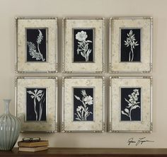 Uttermost Glowing Florals Framed Art, Set of 6