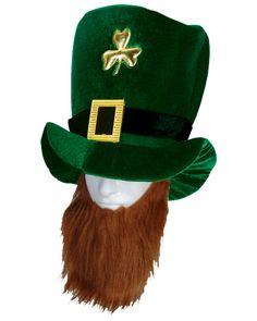 St Patrick's Day Plush Leprechaun Hat W Beard Adult