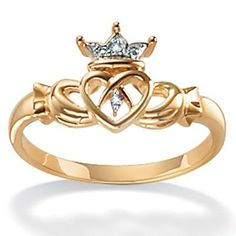 This traditional claddagh ring carries on a romantic tradition with its clasped hands motif defined by sparkling white diamond accents. This ring is crafted of two-tone gold with a highly pol Diamond Claddagh Ring, Claddagh Rings, Diamond Rings, Gold Rings, Celtic Wedding Rings, Celtic Rings, Wedding Bands, Rings With Meaning, Ring Meaning