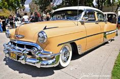 1954 Chevrolet Bel-Air 4-Door Sedan, Sun Gold & White.