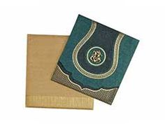 Hindu Wedding Card in Spring Green and Antique Golden
